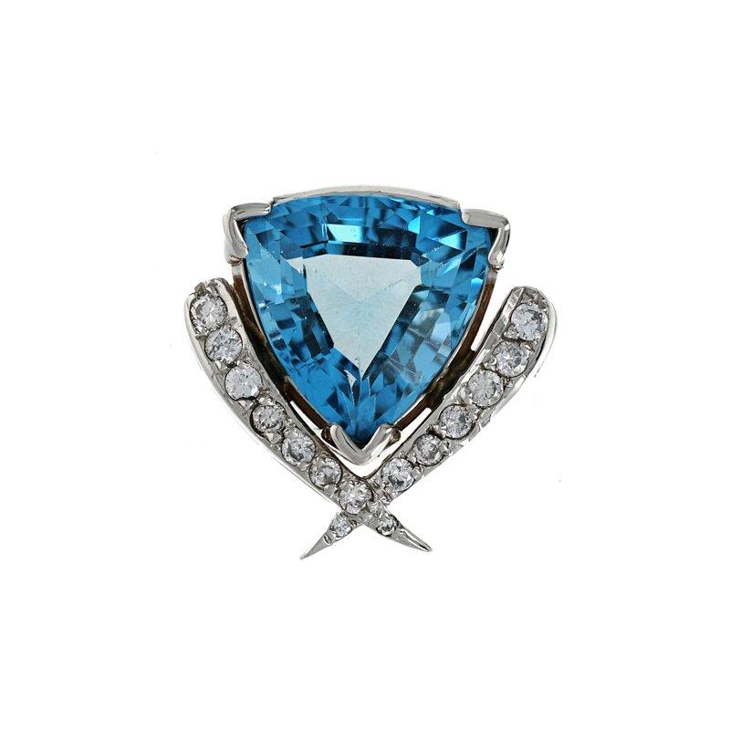 Estate Radcliffe Blue Topaz & Diamond Slide Pendant