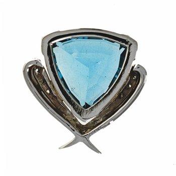Blue Topaz & Diamond Slide Pendant