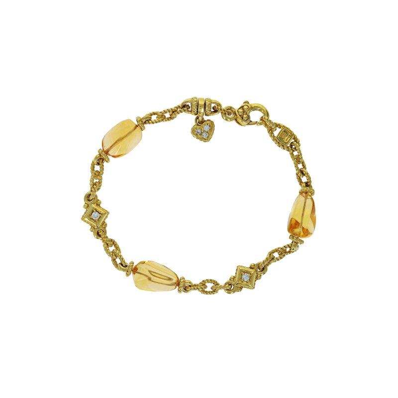 Estate Judith Ripka Diamond & Glass Twisted Link Bracelet