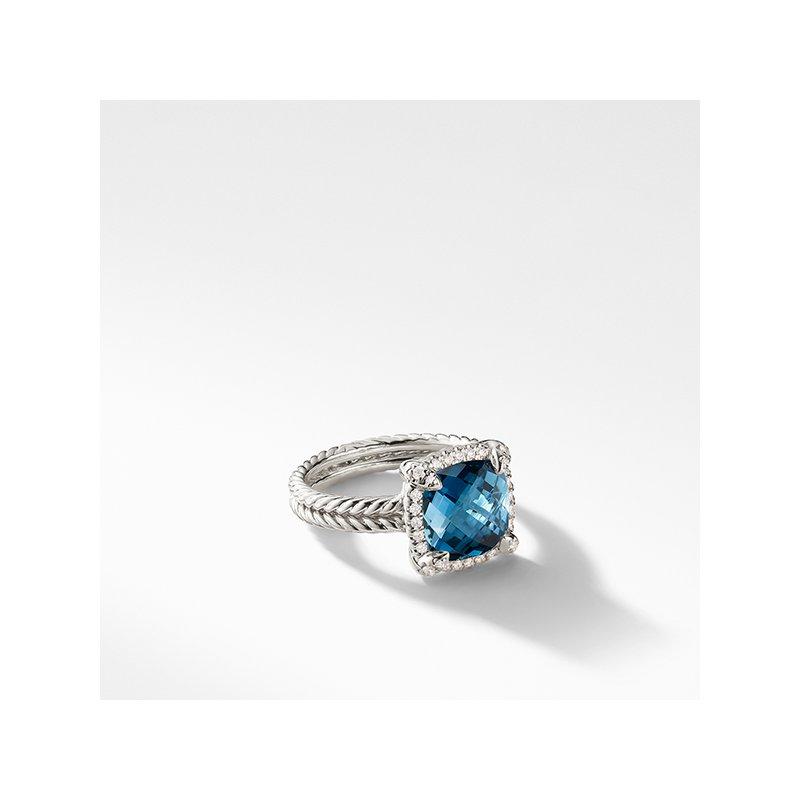 David Yurman Chatelaine Pave Bezel Ring with Hampton Blue Topaz and Diamonds, 9mm