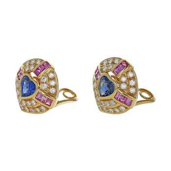 Diamond & Sapphire Heart Earrings