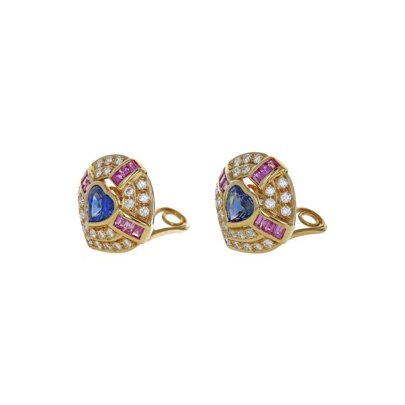 Estate Radcliffe Diamond & Sapphire Heart Earrings