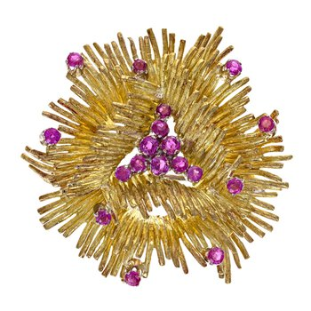 Pink Stone Urchin Brooch