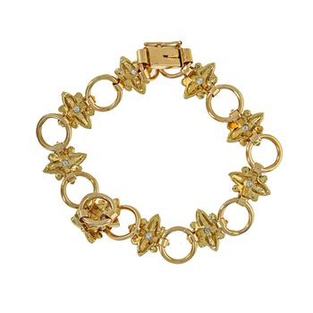 Diamond Flower & Circle Link Bracelet