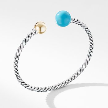 Solari XL Cable Bracelet with Reconstituted Turquoise, Gold Dome and 14K Yellow Gold