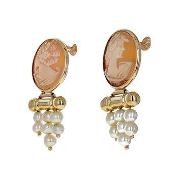 Cameo & Pearl Drop Earrings