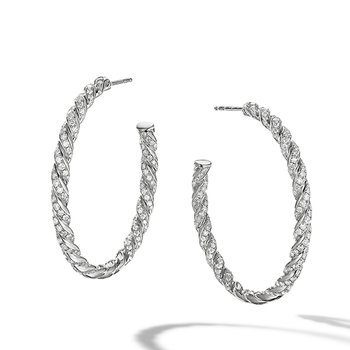 Pave Flex Hoop Earrings in 18K White Gold