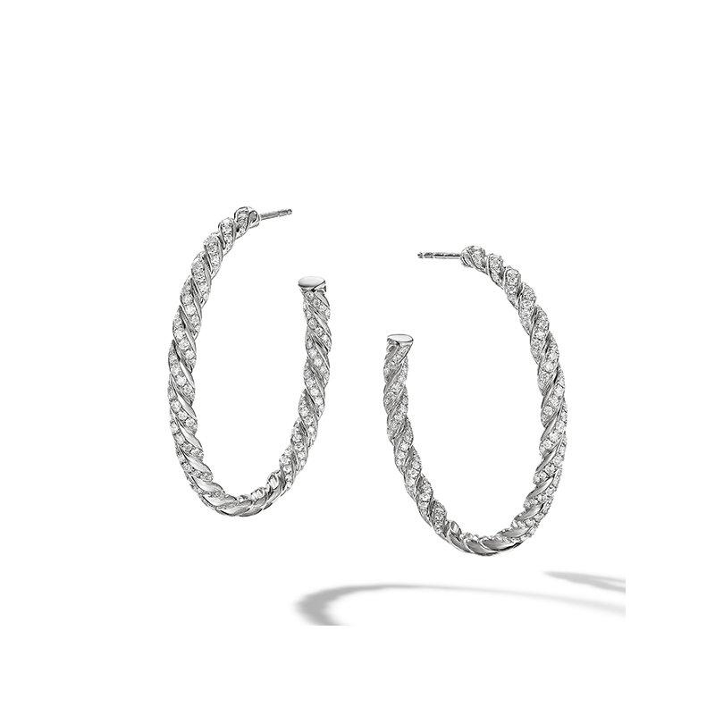 David Yurman Pave Flex Hoop Earrings in 18K White Gold
