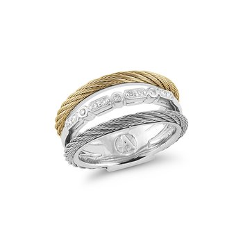 Layered Grey & Yellow Cable Ring