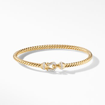 Buckle Bracelet in 18K Yellow Gold with Diamonds