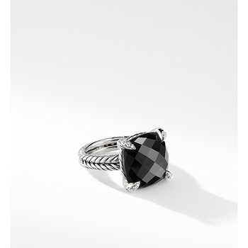 Chatelaine Ring with Black Onyx and Diamonds, 14mm