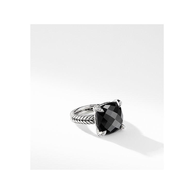 David Yurman Chatelaine Ring with Black Onyx and Diamonds, 14mm