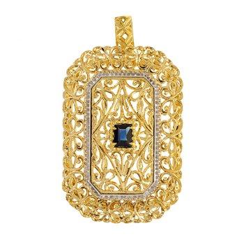 Rectangular Sapphire Pendant