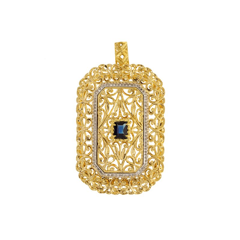 Estate Radcliffe Rectangular Sapphire Pendant