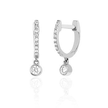 Diamond Mini Huggie Earrings with Diamond Bezel Drop