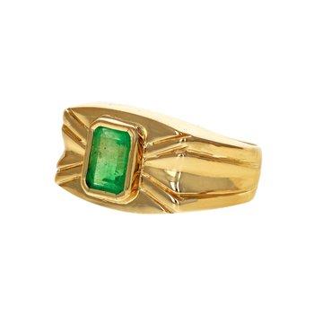 Bezel Set Emerald Rectangle Ring