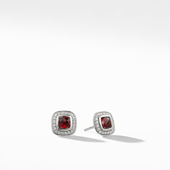 Petite Albion Earrings with Garnet and Diamonds