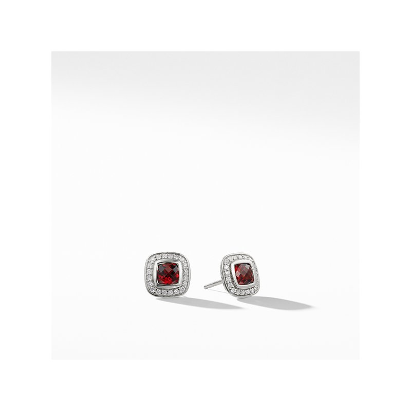 David Yurman Petite Albion Earrings with Garnet and Diamonds