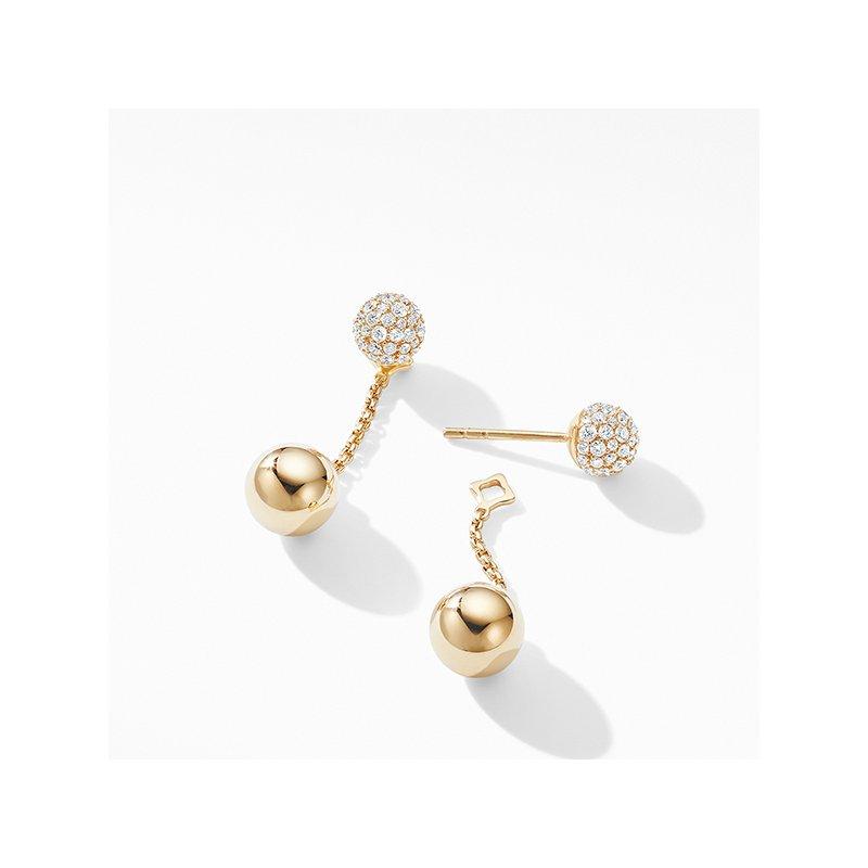David Yurman Solari Chain Drop Earring in 18K Yellow Gold with Diamonds