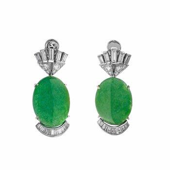 Diamond & Jade Drop Earrings