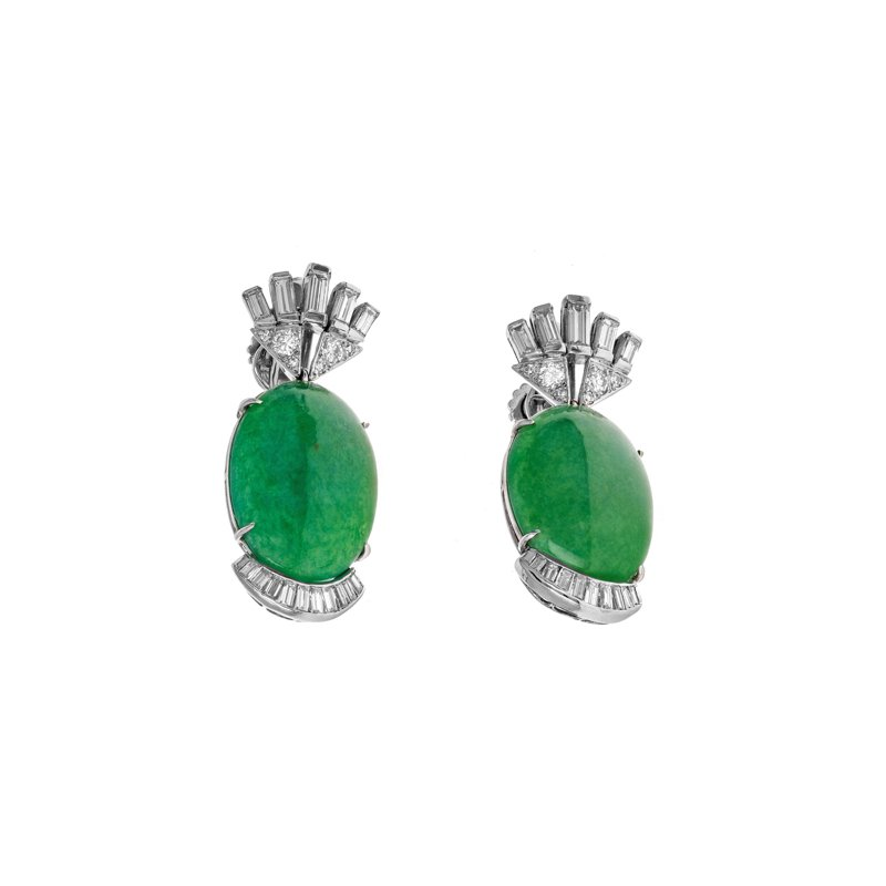 Estate Radcliffe Diamond & Jade Drop Earrings