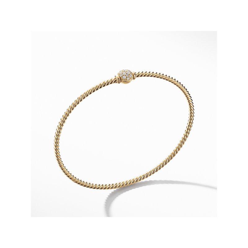 David Yurman Petite Solari Station Pave Bracelet with Diamonds in 18K Gold
