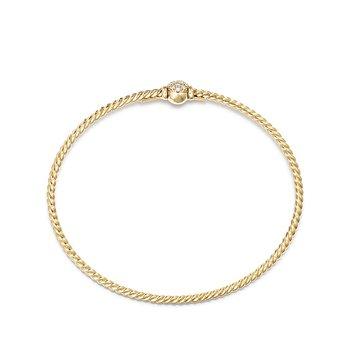 Petite Solari Station Pave Bracelet with Diamonds in 18K Gold