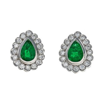 Diamond & Emerald Tear Drop Earrings