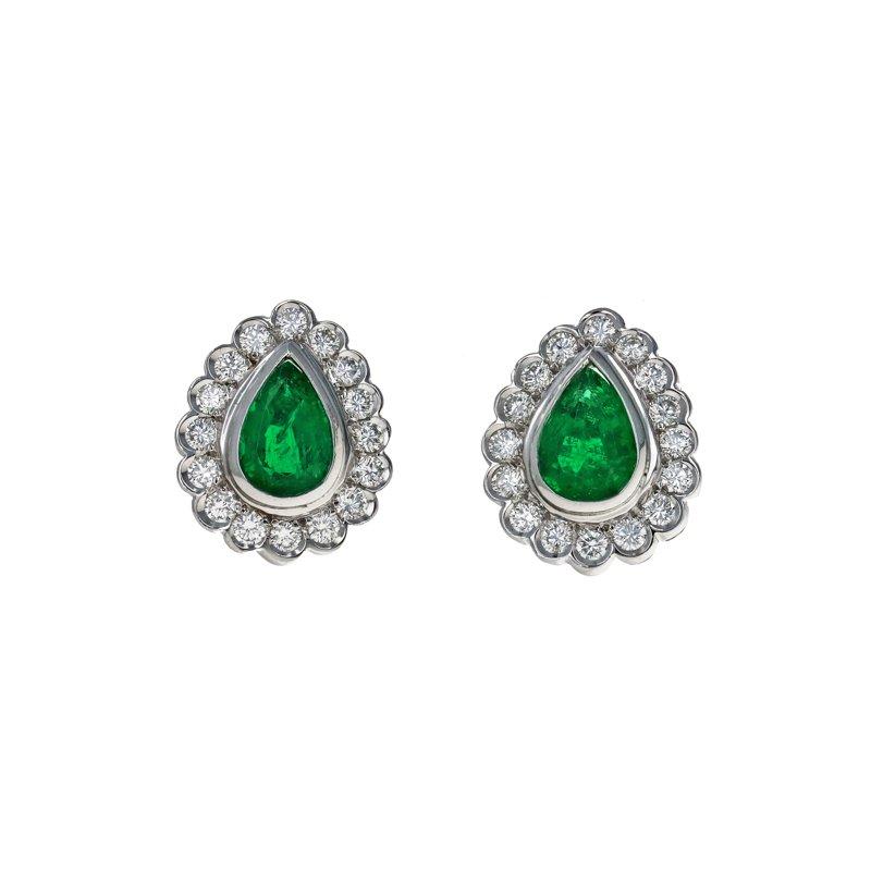 Estate Radcliffe Diamond & Emerald Tear Drop Earrings