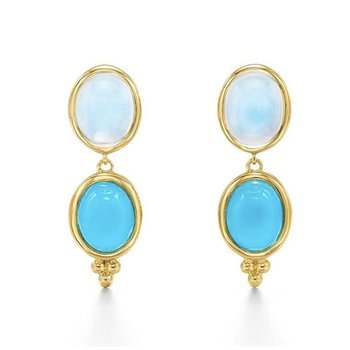 Blue Moon and Turquoise Drop Earrings