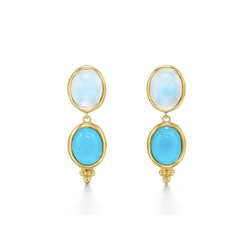 Temple St. Clair Blue Moon and Turquoise Drop Earrings