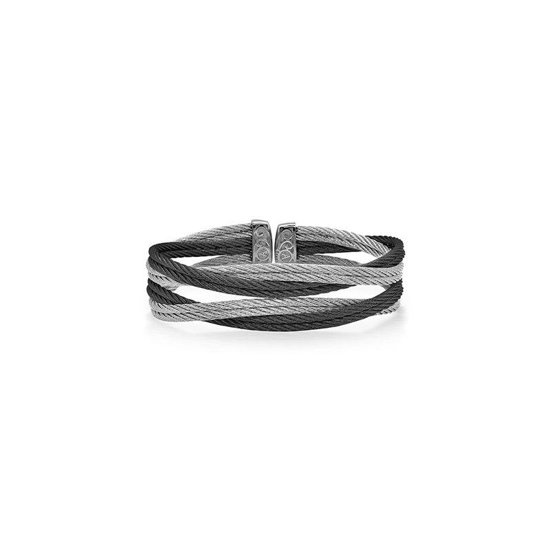 ALOR Black & Grey Cable Entwine Cuff