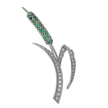 Diamond & Alexandrite Cattail Pin