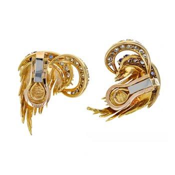 Diamond & Sapphire Wheat Earrings