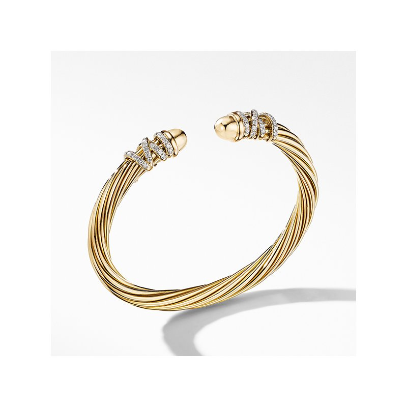 David Yurman Helena End Station Bracelet in 18K Yellow Gold with Diamonds
