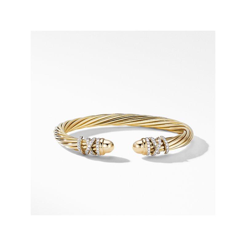 David Yurman Helena End Station Bracelet in 18K Yellow Gold with Diamonds