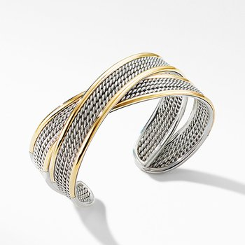 DY Origami Narrow Crossover Cuff Bracelet with 18K Yellow Gold
