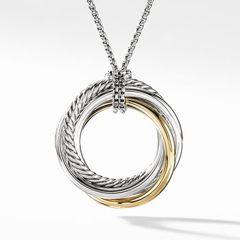 Crossover Pendant Necklace with Gold