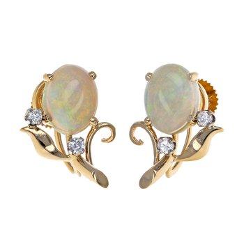 Opal & Diamond Leaf Earrings