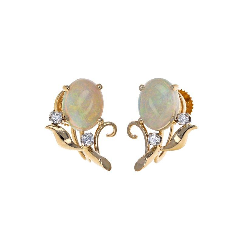 Estate Radcliffe Opal & Diamond Leaf Earrings