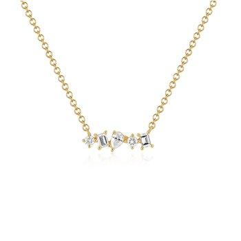 Multi Faceted Diamond Mini Bar Necklace