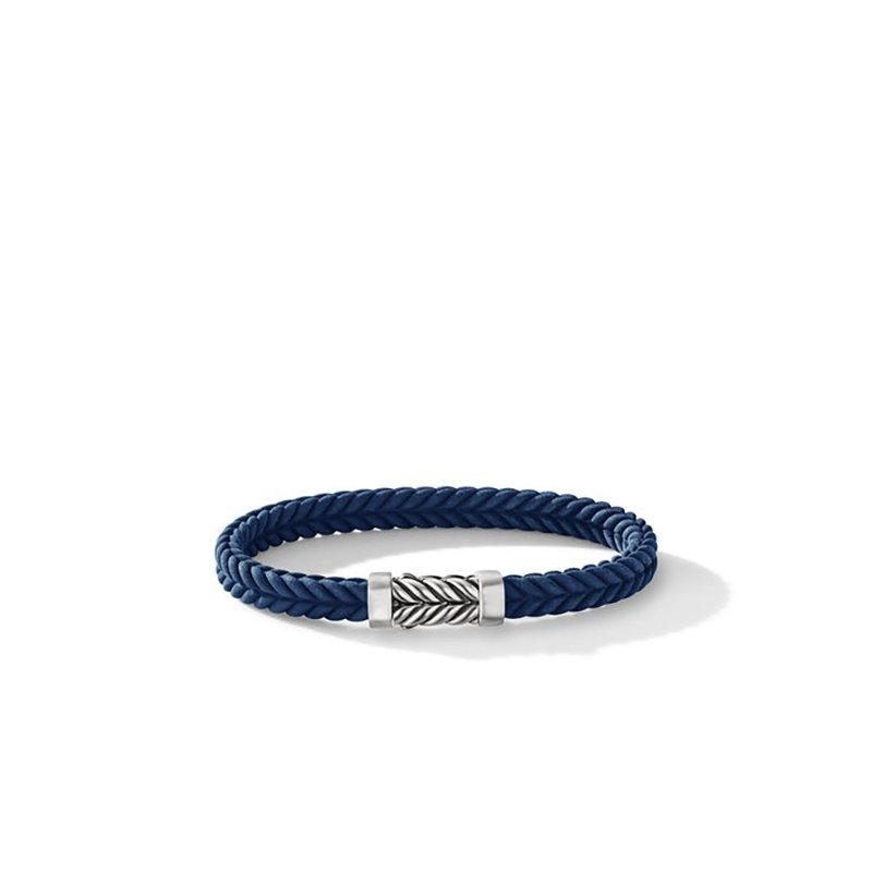 David Yurman Chevron Blue Rubber Bracelet