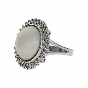 Pearl & Diamond Halo Ring