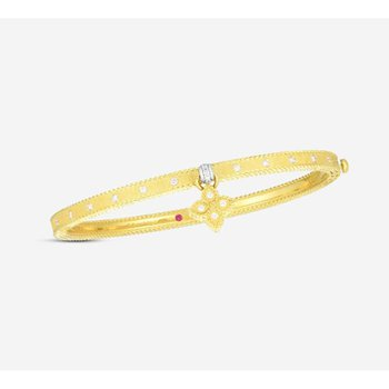 Princess Flower Bangle Bracelet with Flower Charm