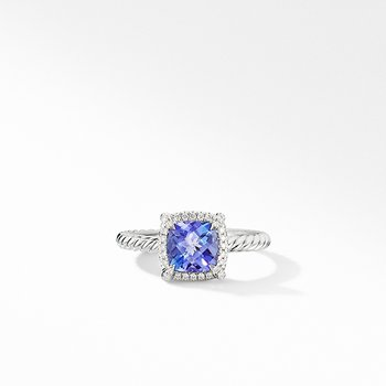 Petite Chatelaine Pave Bezel Ring in 18K White Gold with Tanzanite