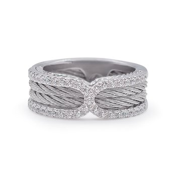 Cable Ring with Diamonds