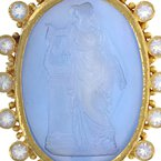 Estate Elizabeth Locke Goddess With Harp Pin / Pendant