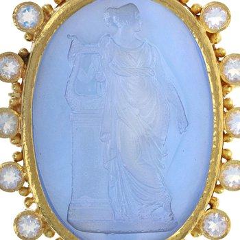 Goddess With Harp Pin / Pendant