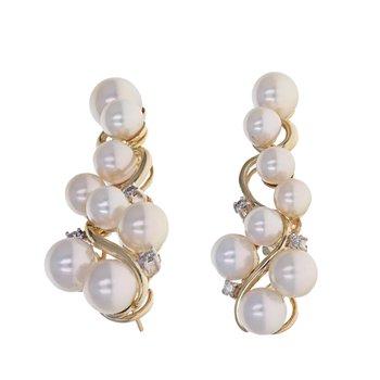 Diamond & Pearl Vine Drop Earrings
