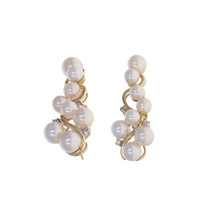 Estate Radcliffe Diamond & Pearl Vine Drop Earrings